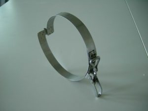 Spannband für Spiralschlauch, mit nachstellbarem Schnellverschluß - auch in Edelstahl